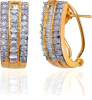 Fashion Fusion ES013002A Amritaya 18K Yellow Gold, Rhodium Plated Cubic Zirconia Brass, Alloy Huggie Earring