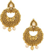 Voylla Artifictial Floral Textured Yellow Gold Plated  K Crystal Alloy Dangle Earring