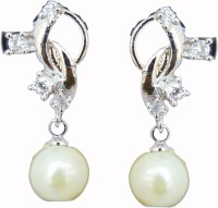 Classique Designer Jewellery Rhodium Plated Pearl Copper Drop Earring