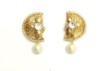 Greek Sojourn Antique12 Rose Gold Plated Pearl Metal Drop Earring