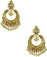 Orniza Rajwadi Earrings In Clear Color And Golden Polish Brass Chandbali Earring