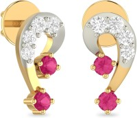 WearYourShine By PCJ The Nicolette Yellow Gold 18kt Diamond, Ruby Stud Earring