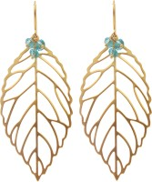 Oumya Jewels 18K Yellow Gold Plated Crystal Brass Dangle Earring