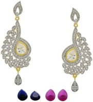 Pearls Cart Ad Stone Studded Peacock Theme Style Alloy Drop Earring - ERGEDKRQ3CBZGXPD