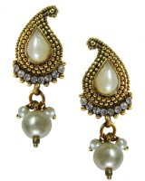 Beingwomen Elegant Gold-Plated Pearl With Kundan Studded Fashion Yellow Gold Alloy Drop Earring