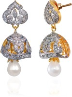 Alysa Aazeen 18K Yellow Gold, Rhodium Plated Cubic Zirconia Brass, Alloy, Silver Jhumki Earring