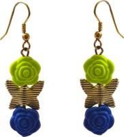 Rejuvenate Jewels Multicolour Yellow Gold Plated Metal Dangle Earring