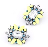 Cinderella Collection By Shining Diva Silver & Yellow Crystal Alloy Stud Earring
