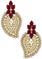 The Jewelbox Red Paisley Filigree Yellow Gold Copper Dangle Earring