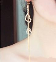 Sansar India Valentine Sparkle Heart Long Metal Tassel Earring