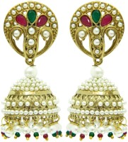 Peora Antique Floral Alloy Jhumki Earring