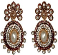 ACW Gold Plated White Stones Meenakari And Pearls Earrings For Women Alloy Dangle Earring