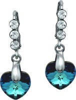 Mahi Blue Heart Dangler Crystal Alloy Dangle Earring