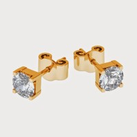 Aiza 18K Yellow Gold Plated 18 K Diamond Gold Stud Earring - ERGEYUXWYRZDZYZU
