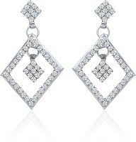 Mahi Whimsical Glam Rhodium Plated Crystal Alloy, Brass Dangle Earring