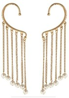Kalaplanet Golden Tassels Decorated With Pearl Alloy Cuff Earring