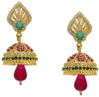 Pearls Cart Antique Golden Stone Studded Traditional Alloy Jhumki Earring