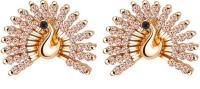 Yellow Chimes Dancing Golden Peacock Rose Gold Plated Zircon Brass Stud Earring