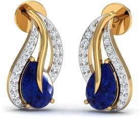 Damor Nifty Yellow Gold 18kt Diamond, Sapphire Stud Earring