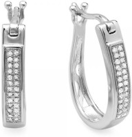 Kavya Jewels Round 18K White Gold Plated Diamond Sterling Silver Hoop Earring