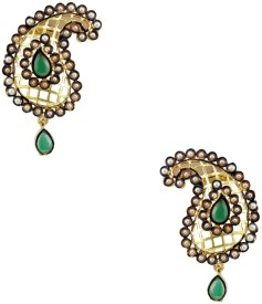 Orniza Rajwadi Mango Shape Earrings in Pearl Color Brass Stud Earring