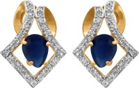 Alysa Arc Rhodium, 18K Yellow Gold Plated Cubic Zirconia Copper, Brass Stud Earring