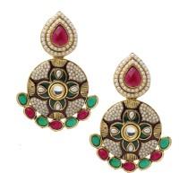 Prakruthi Pearl Cluster Alloy Chandbali Earring