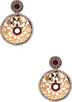 Voylla Artifictial Floral Plain Yellow Gold Plated Cubic Zirconia Alloy Dangle Earring