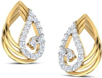 CaratLane Duo-Style 18K Yellow Gold Plated 18 K Diamond Gold Stud Earring