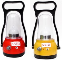 Sahi Rechargeable Moon Lantern With Charger - Set Of 2 Emergency Lights (Red, Yellow)