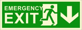 BRANDSHELL Emergency Exit Down Wards Emergency Sign