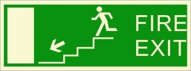 BRANDSHELL Fire Exit Leftside Down Stairs Emergency Sign