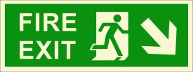 BRANDSHELL Fire Exit Down Right Side Emergency Sign