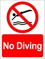 Clickforsign Diving Prohibited Emergency Sign