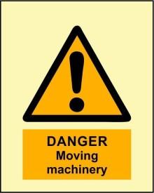 BRANDSHELL Danger Moving Machinery Emergency Sign