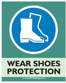 Dishasignage Wear-Shoes-Protection Emergency Sign