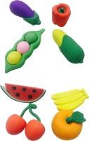 Priyankish Smart Kids Non-Toxic Fruits & Vegetable Eraser Set Shaped Small Erasers (Set Of 2, Multocolor)