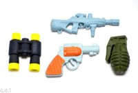 COI KIDS Non-Toxic GUN AND BOMB ERASER Shaped SMALL Erasers (Set Of 1, MULTI COLOUR)