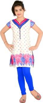 Yellow Dots Girl's Kurti And Legging Set - ETHE4RQYREGNGMRG