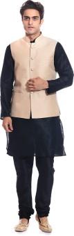 Tag 7 Men's Kurta, Waistcoat And Pyjama Set - ETHE5H2YHSA5EGSF