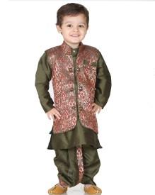 Kishore Dresses Baby Boy's Kurta, Waistcoat and Dhoti Pant Set