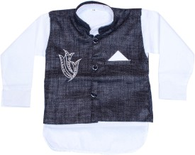 Honeybum Boy's Kurta, Waistcoat And Pyjama Set