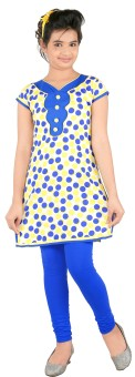 Yellow Dots Girl's Kurti And Legging Set - ETHE55NETYQFAVQ5