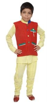Jbn Creation Boy's Kurta, Waistcoat And Pyjama Set