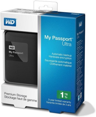 WD 1 TB Wired HDD  External Hard Drive (Black)