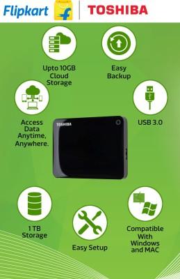 Toshiba 1 TB Wired HDD  External Hard Drive (Black)
