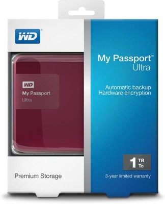 WD My Passport Ultra 1 TB Wired  External Hard Drive (Red)