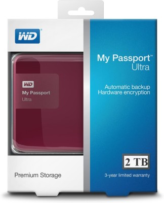 WD My Passport Ultra 2 TB Wired  External Hard Drive (Berry)
