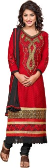 Fabcart Cotton Embroidered Semi-stitched Salwar Suit Material Semi-stitched