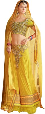 De Marca Silk Embroidered Lehenga Choli Material (Yellow)